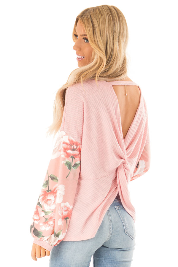 Baby Pink Waffle Knit Top with Long Floral Print Sleeves back close up