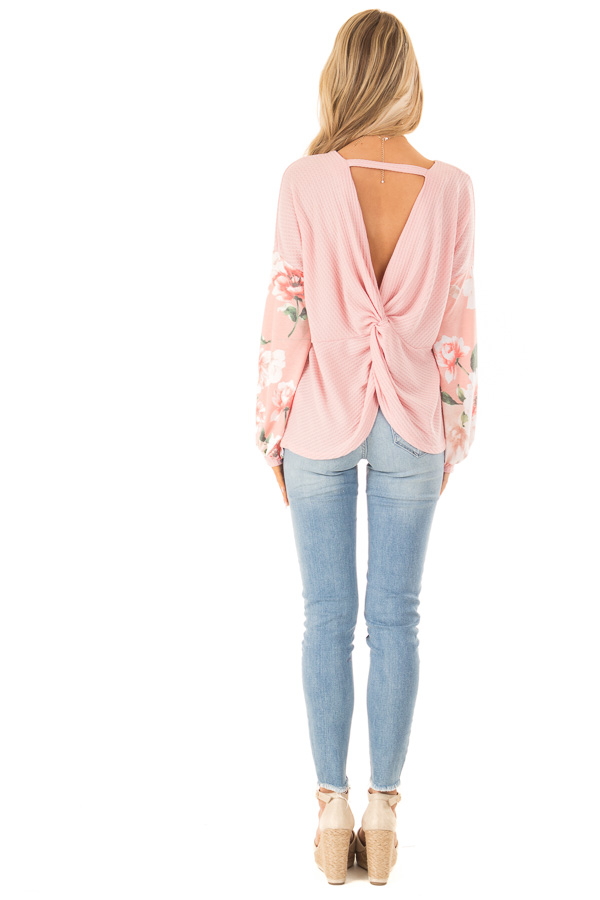 Baby Pink Waffle Knit Top with Long Floral Print Sleeves back full body