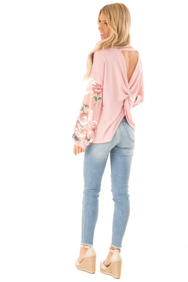 Baby Pink Waffle Knit Top with Long Floral Print Sleeves side full body