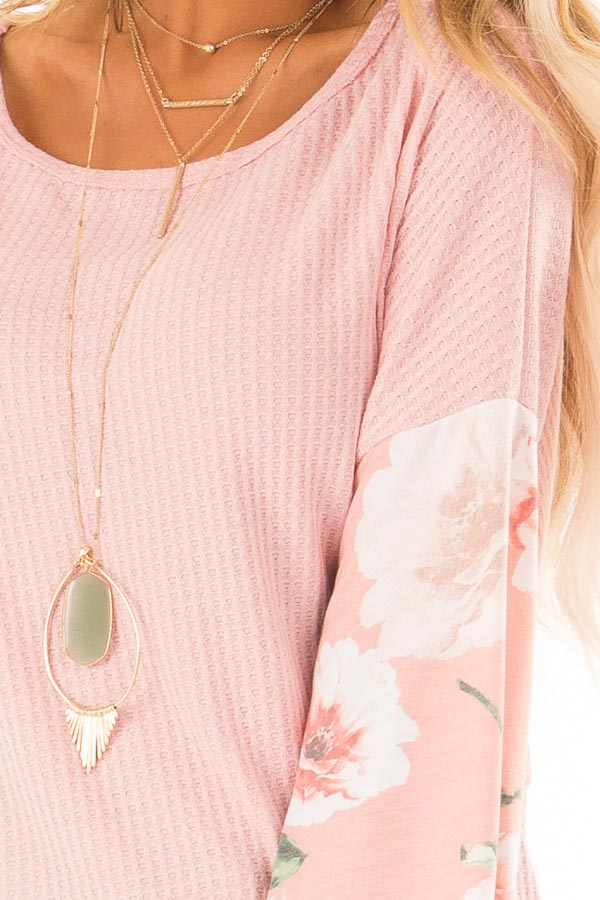 Baby Pink Waffle Knit Top with Long Floral Print Sleeves detail