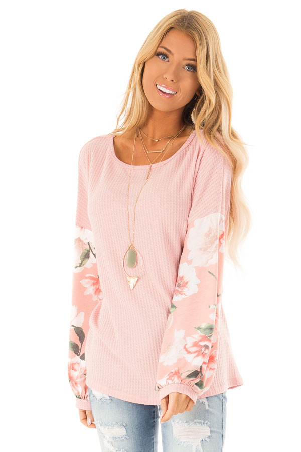 Baby Pink Waffle Knit Top with Long Floral Print Sleeves front close up