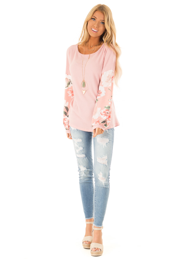 Baby Pink Waffle Knit Top with Long Floral Print Sleeves front full body