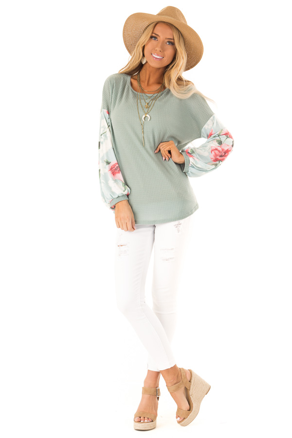 Dusty Blue Waffle Knit Top with Long Floral Print Sleeves front full body