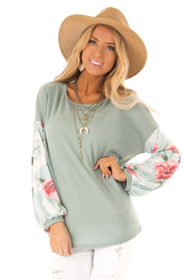 Dusty Blue Waffle Knit Top with Long Floral Print Sleeves front close up