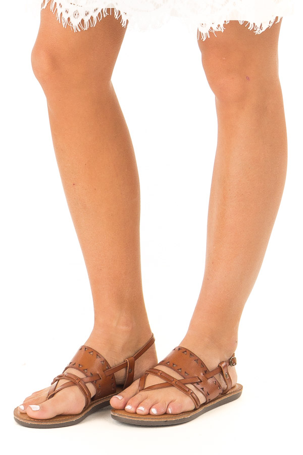 Brown Sugar Strappy Sandal with Triangle Cutouts side view