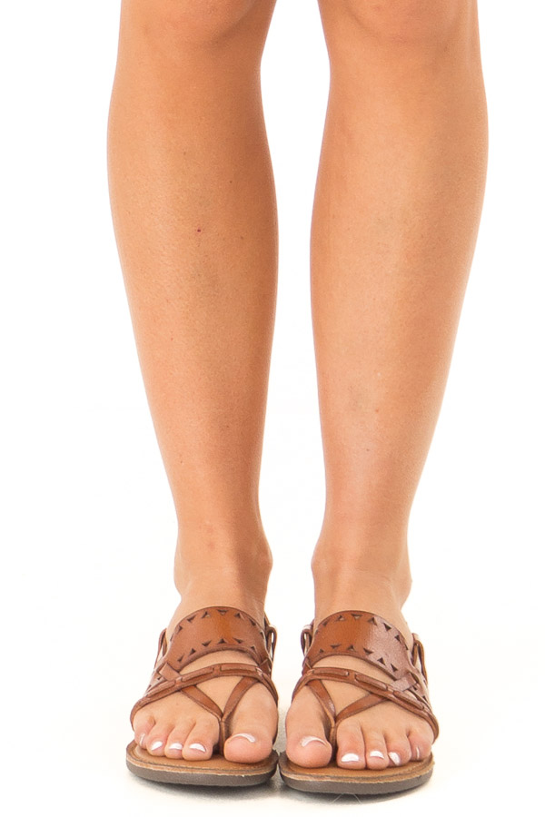 Brown Sugar Strappy Sandal with Triangle Cutouts front view