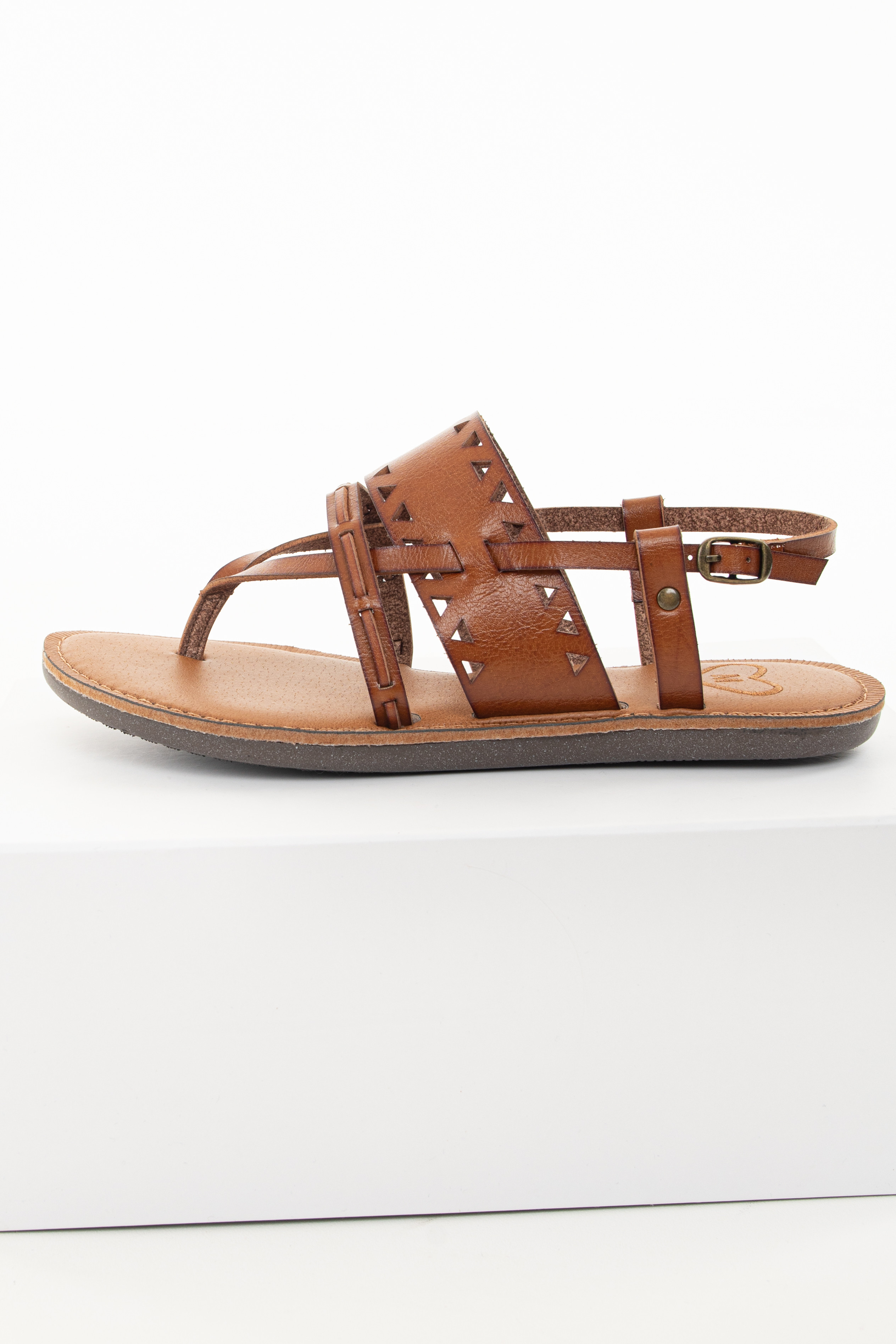 Brown Sugar Strappy Sandal with Triangle Cutouts