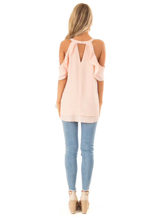 Light Blush Cold Shoulder Ruffle Top with Chest Cutout back full body
