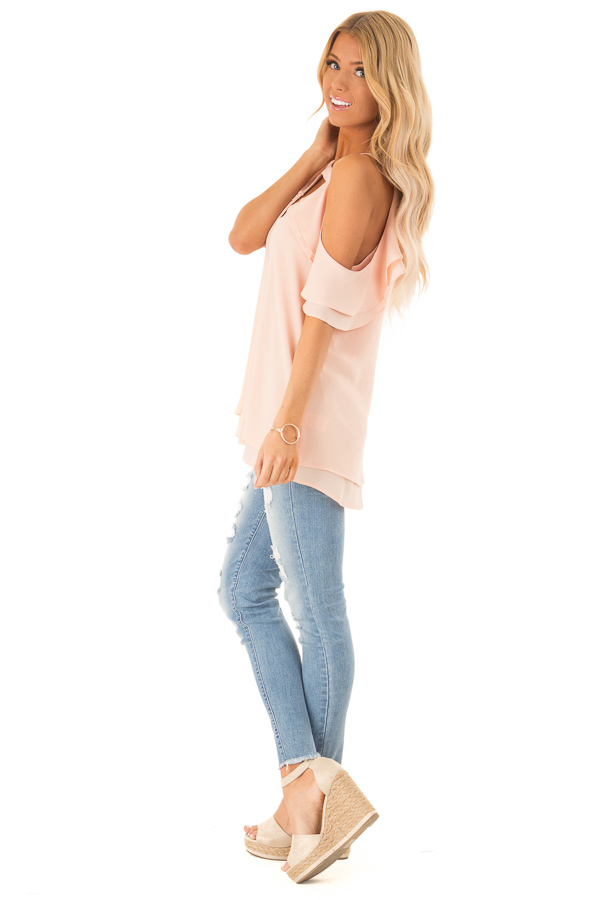 Light Blush Cold Shoulder Ruffle Top with Chest Cutout side full body