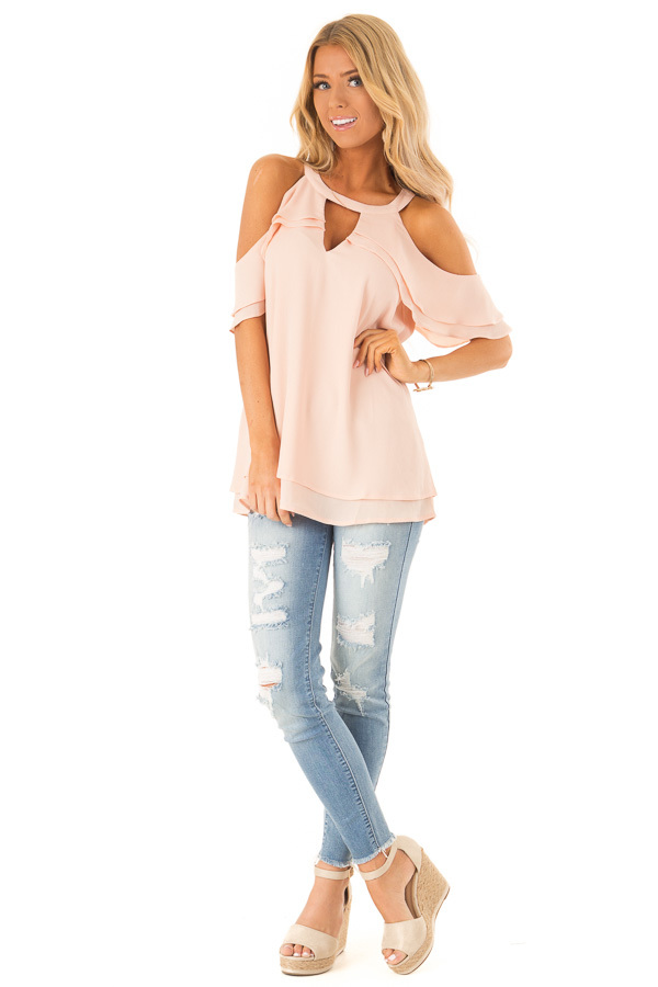 Light Blush Cold Shoulder Ruffle Top with Chest Cutout front full body