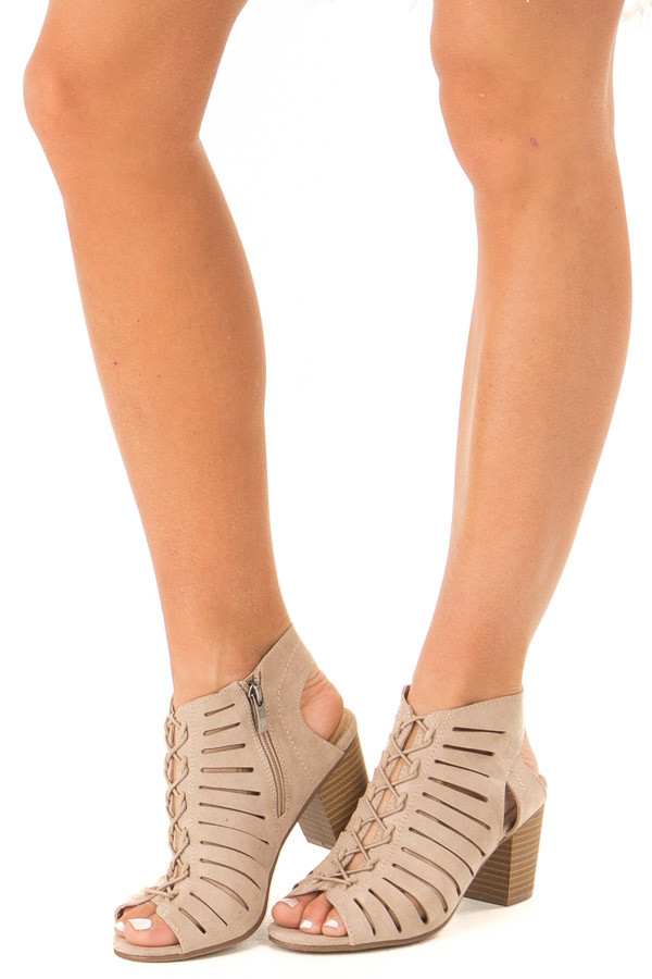 Medium Taupe Heeled Lace Up Sandal with Cutouts side view