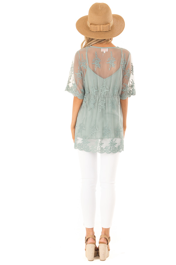 Sage Sheer Lace Short Sleeve Top with Floral Embroidery back full body