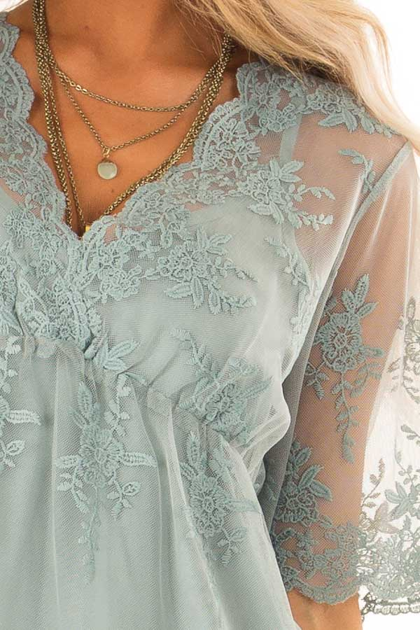 Sage Sheer Lace Short Sleeve Top with Floral Embroidery detail