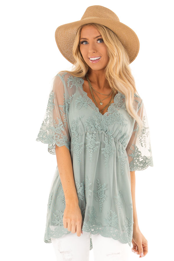 Sage Sheer Lace Short Sleeve Top with Floral Embroidery front close up