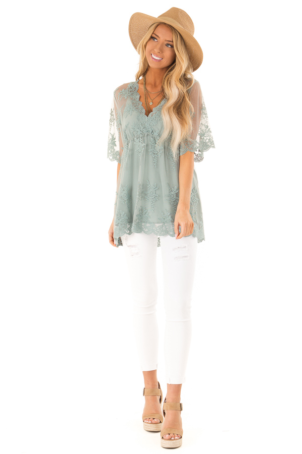 Sage Sheer Lace Short Sleeve Top with Floral Embroidery front full body