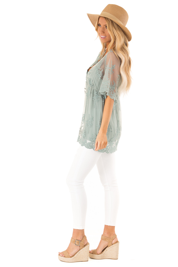 Sage Sheer Lace Short Sleeve Top with Floral Embroidery side full body
