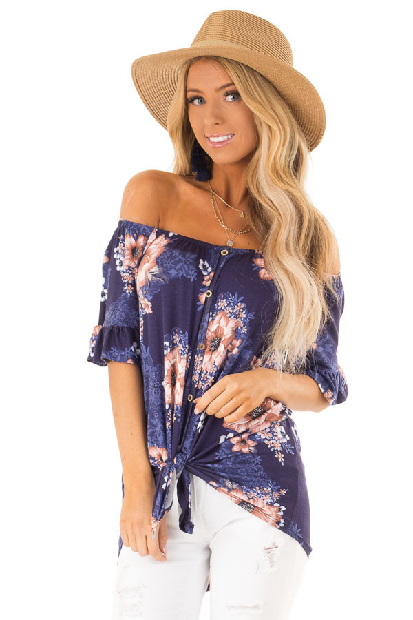 Navy Floral Off the Shoulder Button Up Top with Front Tie front close up