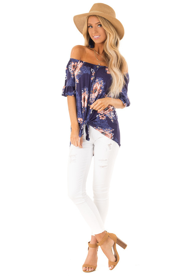 Navy Floral Off the Shoulder Button Up Top with Front Tie front full body