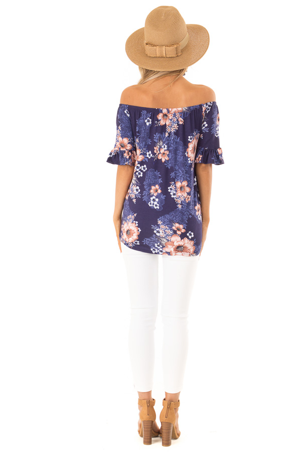 Navy Floral Off the Shoulder Button Up Top with Front Tie back full body