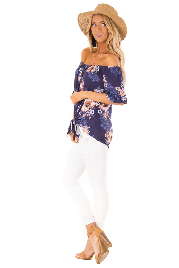 Navy Floral Off the Shoulder Button Up Top with Front Tie side full body