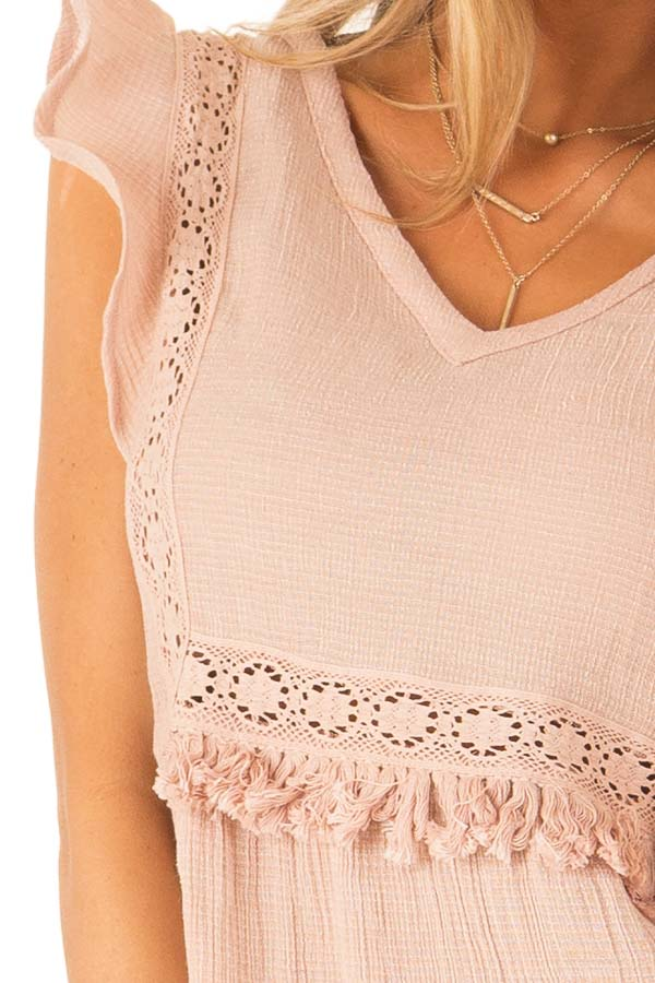 Pale Salmon Short Ruffle Sleeve Top with Lace Details detail