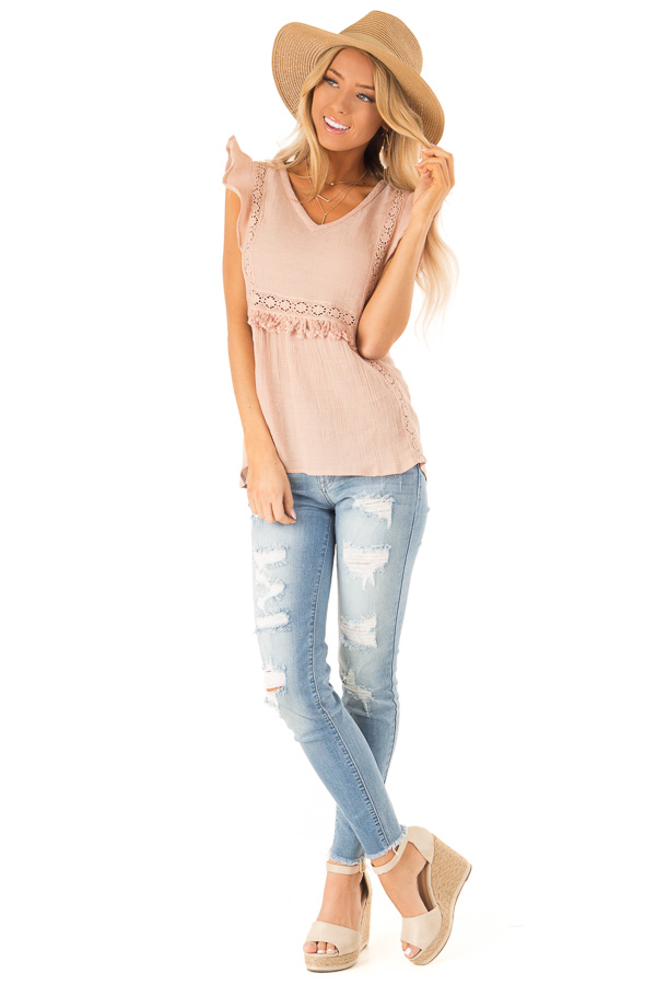 Pale Salmon Short Ruffle Sleeve Top with Lace Details front full body