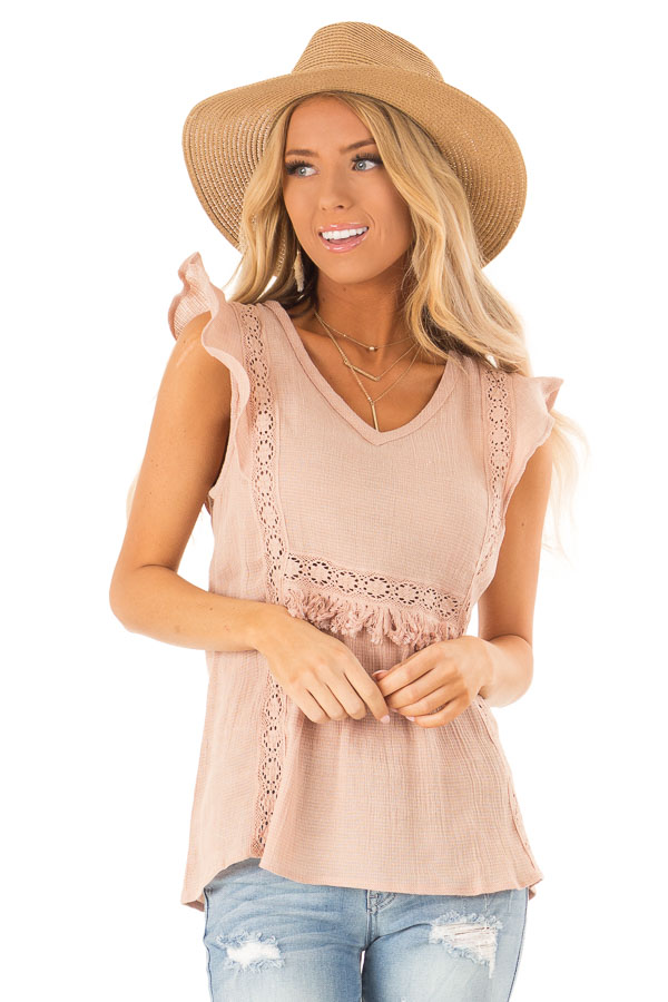 Pale Salmon Short Ruffle Sleeve Top with Lace Details front close up