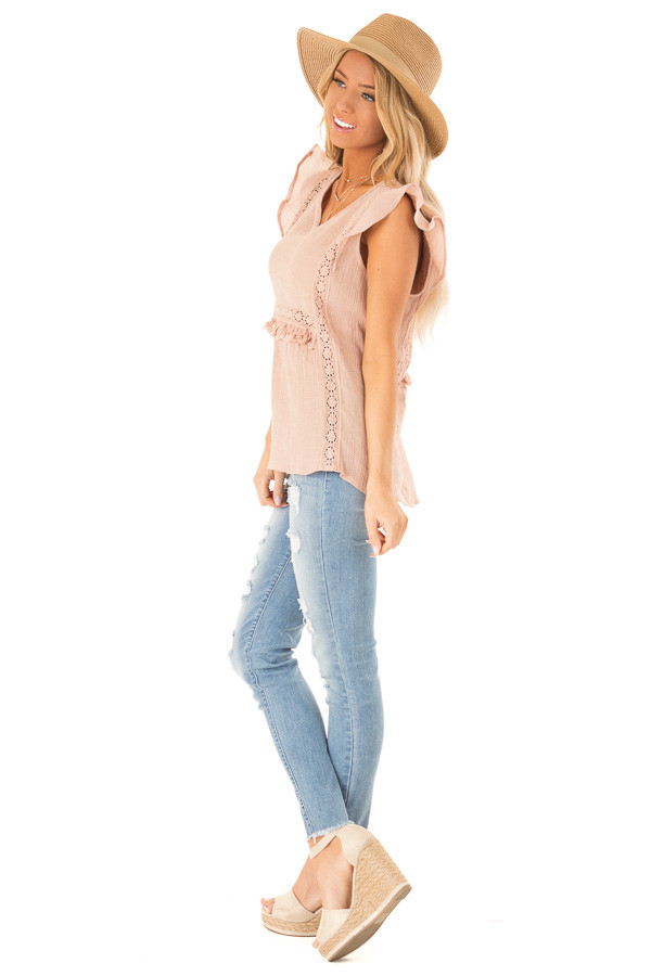 Pale Salmon Short Ruffle Sleeve Top with Lace Details side full body
