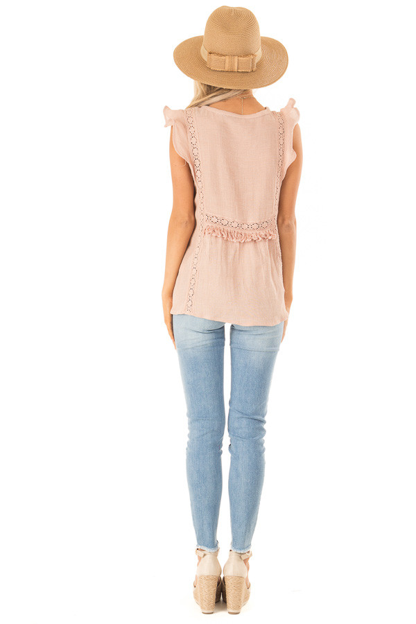 Pale Salmon Short Ruffle Sleeve Top with Lace Details back full body
