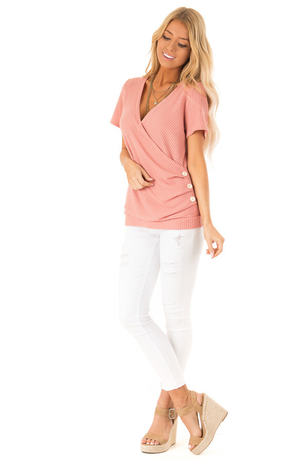 Dusty Pink Waffle Knit Surplice Top with Side Button Detail front full body