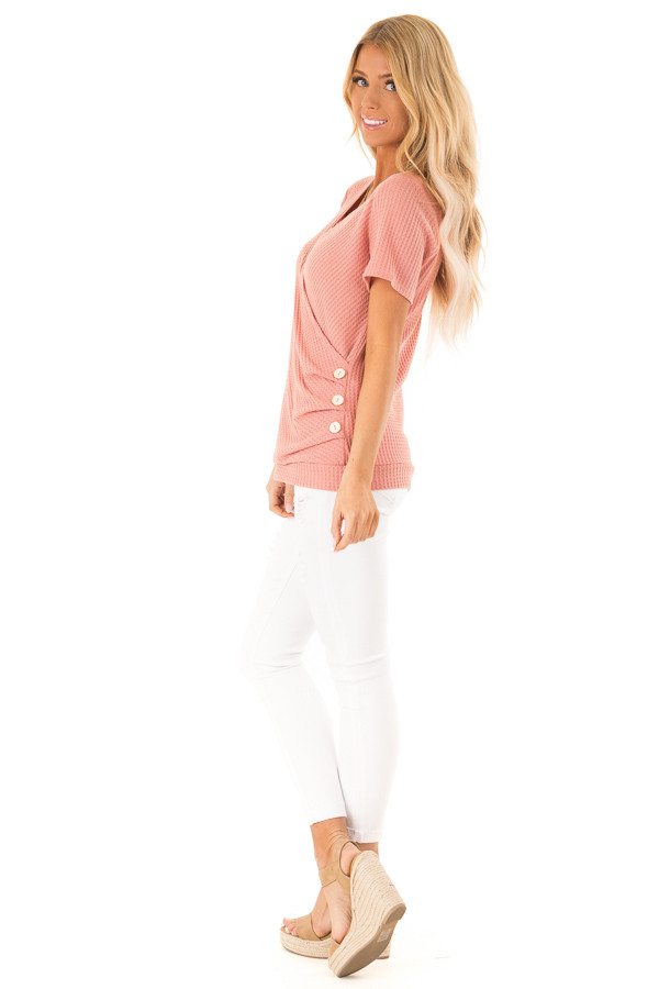 Dusty Pink Waffle Knit Surplice Top with Side Button Detail side full body