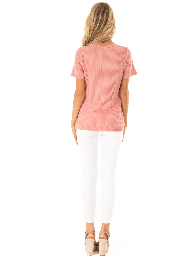 Dusty Pink Waffle Knit Surplice Top with Side Button Detail back full body