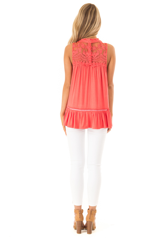 Coral Sleeveless Top with Ruffle and Lace Details back full body