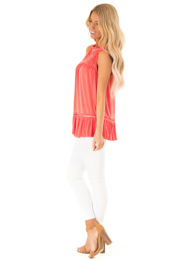 Coral Sleeveless Top with Ruffle and Lace Details side full body