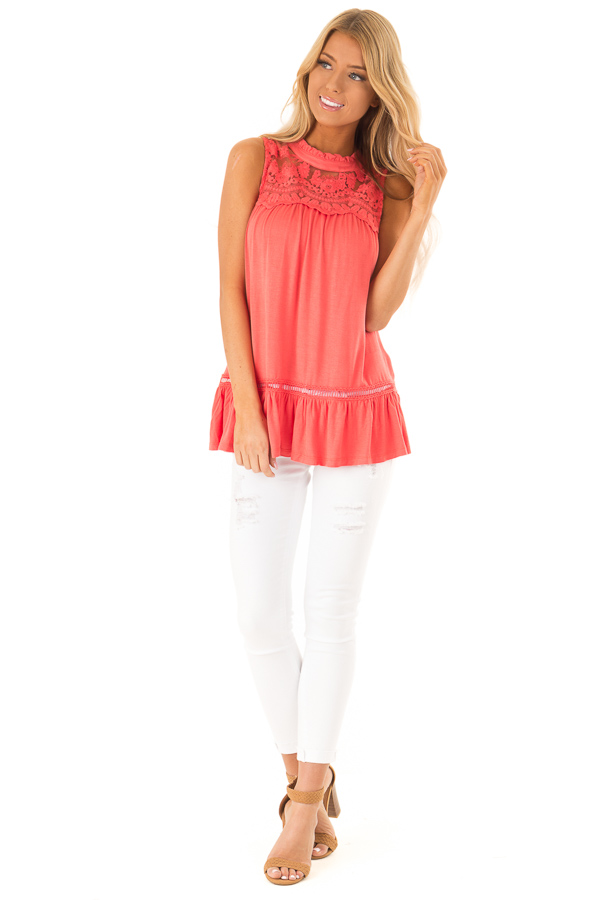 Coral Sleeveless Top with Ruffle and Lace Details front full body