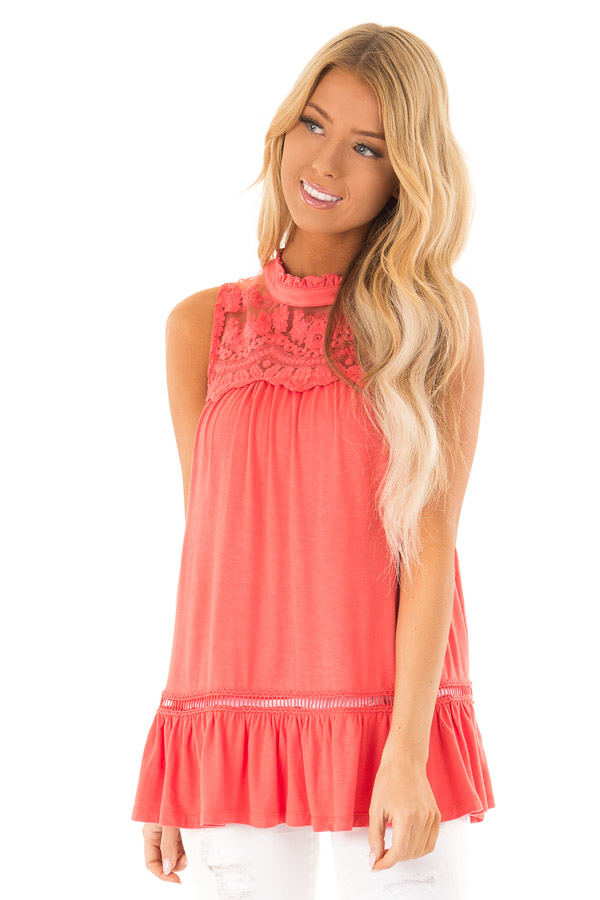 Coral Sleeveless Top with Ruffle and Lace Details front close up