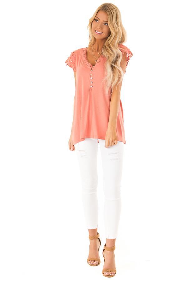 70b45697c9f225 Salmon V Neck Top with Lace Short Sleeves and Button Details front full body