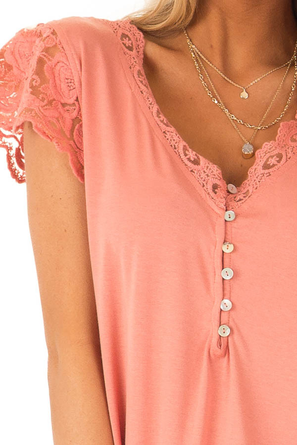 0d5ab8a0eccba3 Salmon V Neck Top with Lace Short Sleeves and Button Details - Lime ...