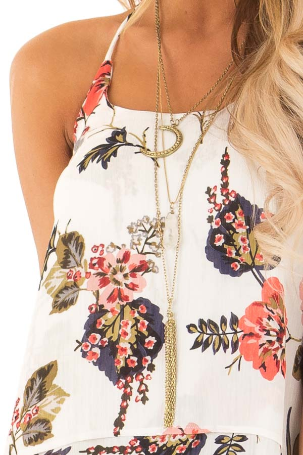 Ivory Floral Layered Halter Tank Top detail