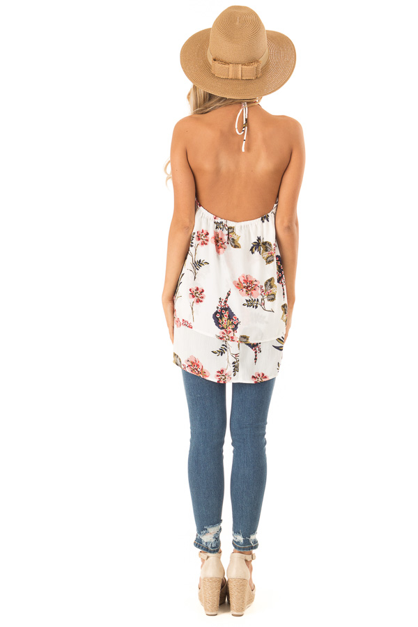 Ivory Floral Layered Halter Tank Top back full body