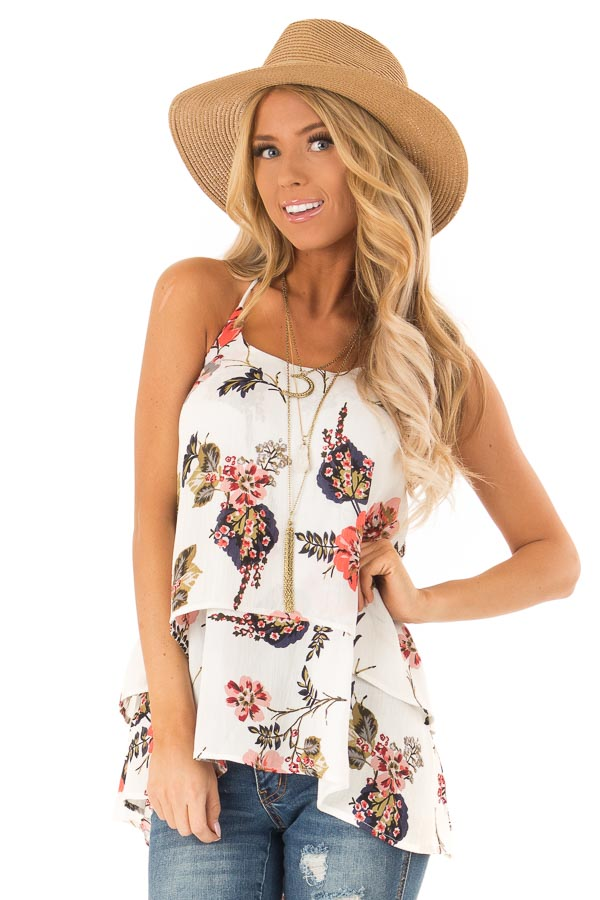 Ivory Floral Layered Halter Tank Top front close up