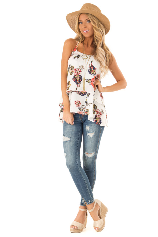 Ivory Floral Layered Halter Tank Top front full body