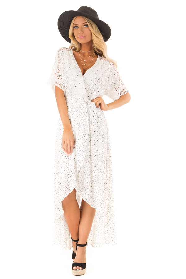 Ivory Polka Dot Wrap Dress with Lace Detail and Waist Tie front full body
