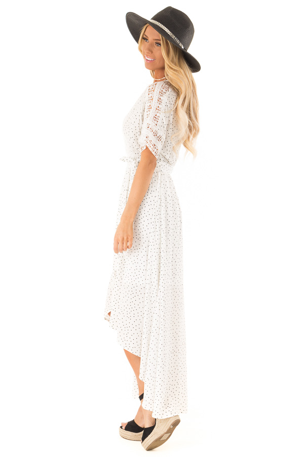Ivory Polka Dot Wrap Dress with Lace Detail and Waist Tie side full body