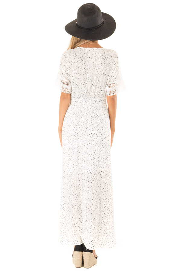 Ivory Polka Dot Wrap Dress with Lace Detail and Waist Tie back full body