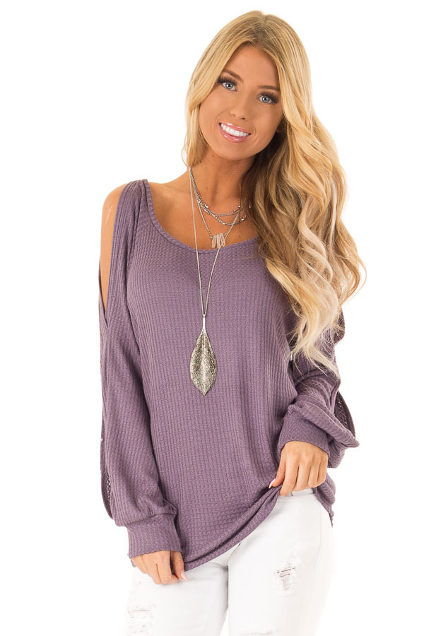 0f7b5eb17e730f Dusty Lilac Waffle Knit Cold Shoulder Long Sleeve Top - Lime Lush ...