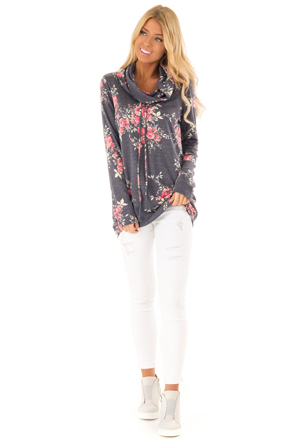 23cdd3f687a3 Navy Floral Long Sleeve Cowl Neck Top with Drawstrings front full body