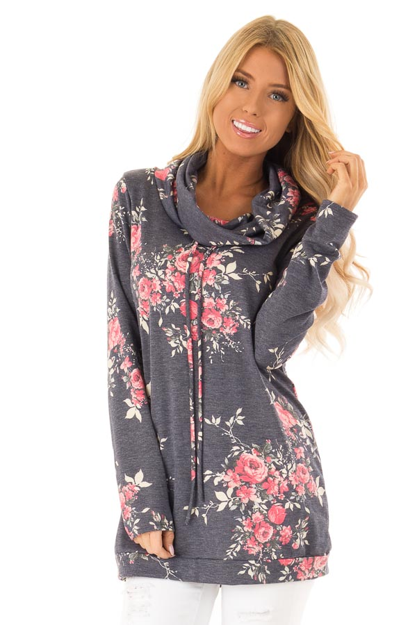 342d490ac976 Navy Floral Long Sleeve Cowl Neck Top with Drawstrings - Lime Lush ...
