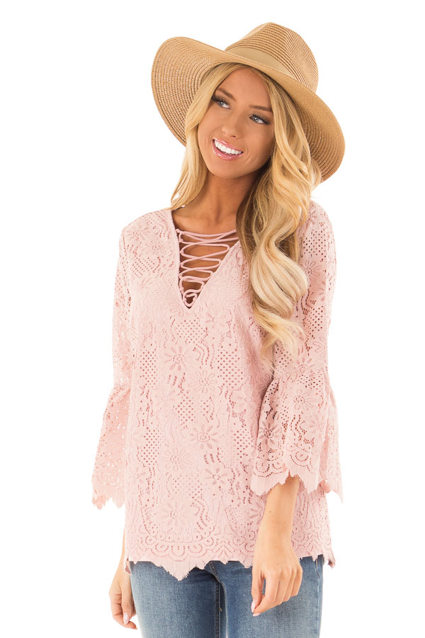 3607d65cc91 Dusty Blush Lace 3/4 Bell Sleeve Top with Lace Up Detail - Lime Lush ...
