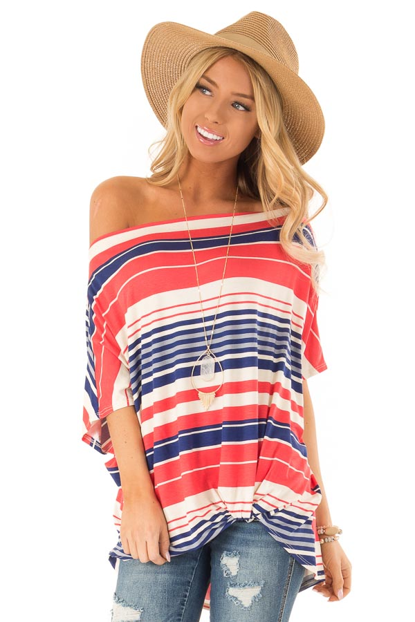 e38d95dd11b62 Navy and Coral Striped Off Shoulder Top with Twist in Front front close up